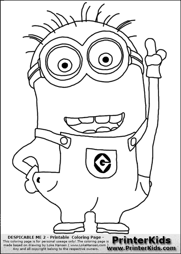 Coloring Page Coloring Page With A Minion From Despicable Me And